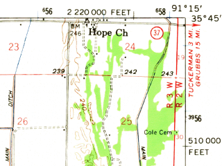Reduced fragment of topographic map en--usgs--063k--058416--(1962)--N035-45_W091-30--N035-30_W091-15; towns and cities Campbell Station, Diaz, Jacksonport
