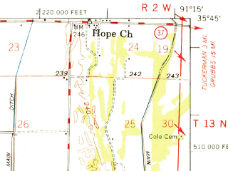 Reduced fragment of topographic map en--usgs--063k--058416--(1966)--N035-45_W091-30--N035-30_W091-15; towns and cities Oil Trough, Campbell Station, Diaz