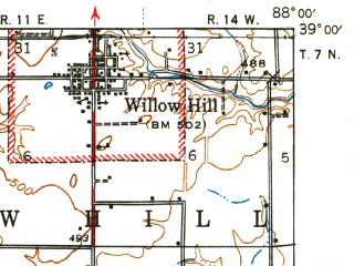 Reduced fragment of topographic map en--usgs--063k--058423--(1943)--N039-00_W088-15--N038-45_W088-00; towns and cities Newton, Ste. Marie, Willow Hill