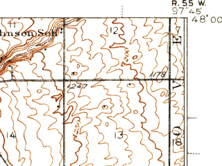 Reduced fragment of topographic map en--usgs--063k--058426--(1939)--N048-00_W098-00--N047-45_W097-45; towns and cities Niagara