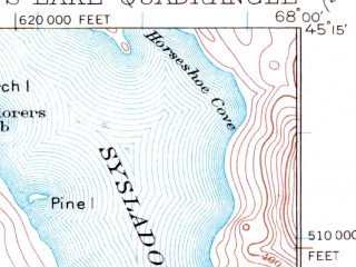 Reduced fragment of topographic map en--usgs--063k--058430--(1932)--N045-15_W068-15--N045-00_W068-00 in area of Nicatous Lake, Duck Lake, Abarngamook Lake