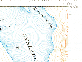 Reduced fragment of topographic map en--usgs--063k--058430--(1934)--N045-15_W068-15--N045-00_W068-00 in area of Nicatous Lake, Duck Lake, Abarngamook Lake