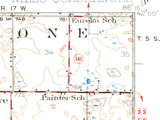 Reduced fragment of topographic map en--usgs--063k--058439--(1927)--N042-00_W086-30--N041-45_W086-15 in area of Lake Chapin; towns and cities Baroda, Berrien Springs, Buchanan
