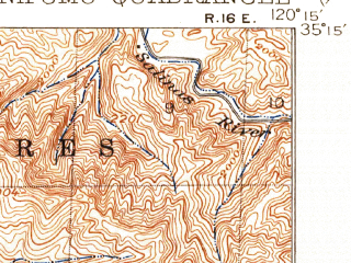 Reduced fragment of topographic map en--usgs--063k--058446--(1922)--N035-15_W120-30--N035-00_W120-15 in area of Lopez Lake; towns and cities Nipomo