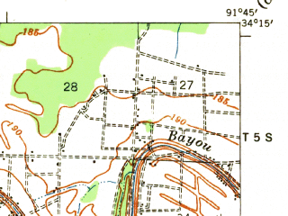 Reduced fragment of topographic map en--usgs--063k--060264--(1935)--N034-15_W092-00--N034-00_W091-45