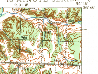 Reduced fragment of topographic map en--usgs--063k--060267--(1943)--N036-45_W094-30--N036-30_W094-15; towns and cities Anderson, Goodman, Lanagan