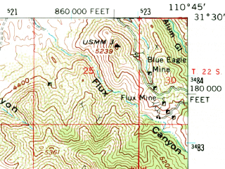 Reduced fragment of topographic map en--usgs--063k--060269--(1958)--N031-30_W111-00--N031-15_W110-45; towns and cities Nogales, Rio Rico East