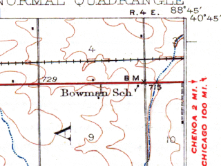 Reduced fragment of topographic map en--usgs--063k--060303--(1930)--N040-45_W089-00--N040-30_W088-45; towns and cities Normal, Towanda, Gridley, Hudson