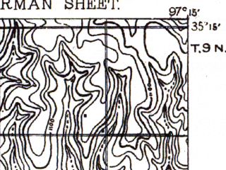 Reduced fragment of topographic map en--usgs--063k--060304--(1893)--N035-15_W097-30--N035-00_W097-15; towns and cities Norman, Purcell, Slaughterville, Washington