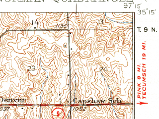 Reduced fragment of topographic map en--usgs--063k--060304--(1936)--N035-15_W097-30--N035-00_W097-15; towns and cities Norman, Goldsby, Hall Park, Lexington