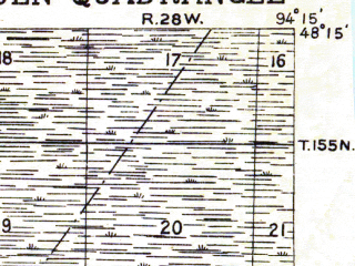 Reduced fragment of topographic map en--usgs--063k--060305--(1919)--N048-15_W094-30--N048-00_W094-15