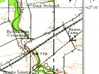 Reduced fragment of topographic map en--usgs--063k--060318--(1913)--N042-15_W080-00--N042-00_W079-45; towns and cities Northwest Harborcreek, North East, Wattsburg