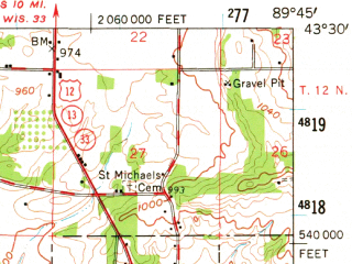 Reduced fragment of topographic map en--usgs--063k--060320--(1958)--N043-30_W090-00--N043-15_W089-45; towns and cities North Freedom, Rock Springs, West Baraboo