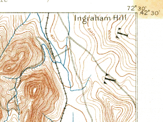 Reduced fragment of topographic map en--usgs--063k--060335--(1886)--N042-30_W072-45--N042-15_W072-30; towns and cities Northampton, Amherst, South Amherst, North Amherst, South Deerfield