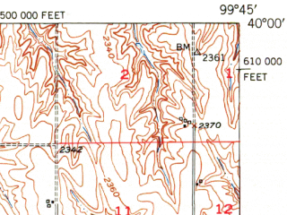 Reduced fragment of topographic map en--usgs--063k--060341--(1951)--N040-00_W100-00--N039-45_W099-45; towns and cities Norton