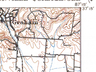 Reduced fragment of topographic map en--usgs--063k--060363--(1912)--N037-15_W087-30--N037-00_W087-15; towns and cities White Plains, Crofton, Mortons Gap
