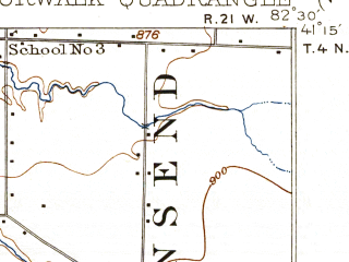 Reduced fragment of topographic map en--usgs--063k--060364--(1915)--N041-15_W082-45--N041-00_W082-30; towns and cities Norwalk, Willard, Greenwich, Monroeville, North Fairfield
