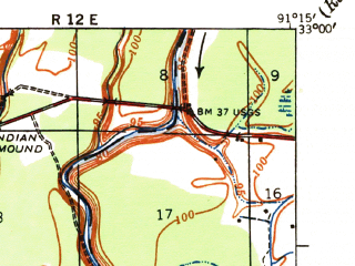 Reduced fragment of topographic map en--usgs--063k--060441--(1935)--N033-00_W091-30--N032-45_W091-15; towns and cities Forest, Kilbourne, Oak Grove