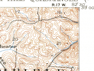 Reduced fragment of topographic map en--usgs--063k--060443--(1912)--N039-00_W082-45--N038-45_W082-30; towns and cities Oak Hill, South Webster