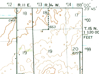 Reduced fragment of topographic map en--usgs--063k--060449--(1936)--N039-45_W088-15--N039-30_W088-00; towns and cities Ashmore, Hindsboro, Oakland