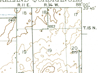 Reduced fragment of topographic map en--usgs--063k--060449--(1942)--N039-45_W088-15--N039-30_W088-00; towns and cities Ashmore, Hindsboro, Oakland