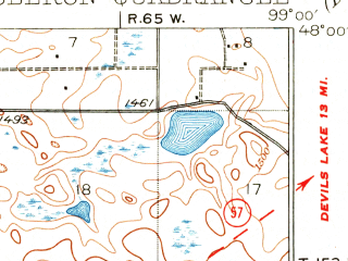 Reduced fragment of topographic map en--usgs--063k--060460--(1931)--N048-00_W099-15--N047-45_W099-00; towns and cities Sheyenne, Oberon