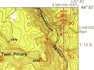 Reduced fragment of topographic map en--usgs--063k--060466--(1948)--N044-30_W120-45--N044-15_W120-30 in area of Ochoco Reservoir