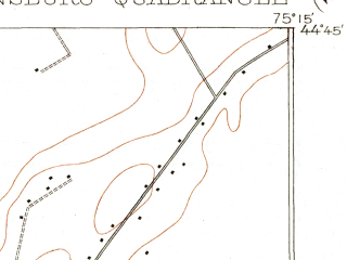 Reduced fragment of topographic map en--usgs--063k--060480--(1904)--N044-45_W075-30--N044-30_W075-15; towns and cities Ogdensburg, Heuvelton, Rensselaer Falls