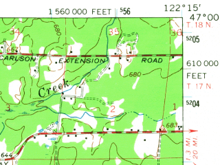 Reduced fragment of topographic map en--usgs--063k--060486--(1959)--N047-00_W122-30--N046-45_W122-15; towns and cities Eatonville