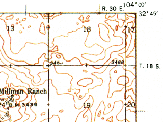 Reduced fragment of topographic map en--usgs--063k--060488--(1943)--N032-45_W104-15--N032-30_W104-00