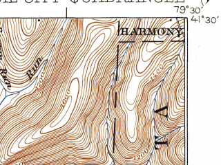 Reduced fragment of topographic map en--usgs--063k--060489--(1924)--N041-30_W079-45--N041-15_W079-30; towns and cities Oil City, Hasson Heights, Rouseville, Seneca