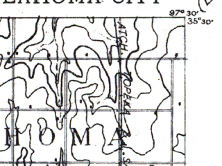 Reduced fragment of topographic map en--usgs--063k--060498--(1893)--N035-30_W097-45--N035-15_W097-30; towns and cities Oklahoma City, Mustang