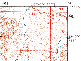 Reduced fragment of topographic map en--usgs--063k--060505--(1956)--N035-15_W116-00--N035-00_W115-45