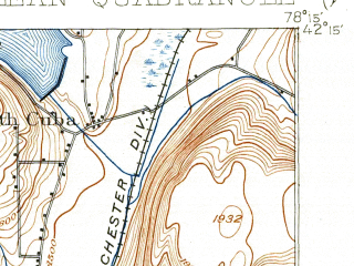 Reduced fragment of topographic map en--usgs--063k--060512--(1943)--N042-15_W078-30--N042-00_W078-15; towns and cities Olean, Allegany, Cuba, Portville