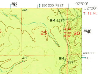 Reduced fragment of topographic map en--usgs--063k--060518--(1955)--N032-00_W092-15--N031-45_W092-00; towns and cities Olla