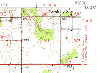 Reduced fragment of topographic map en--usgs--063k--060519--(1949)--N038-45_W088-15--N038-30_W088-00; towns and cities Olney, Mount Erie, Noble, Parkersburg