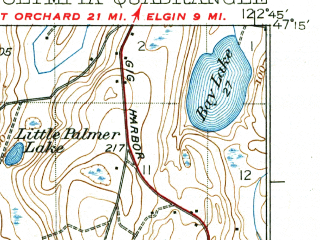 Reduced fragment of topographic map en--usgs--063k--060522--(1937)--N047-15_W123-00--N047-00_W122-45; towns and cities Olympia, Lacey, Tanglewilde-thompson Place