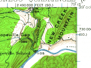 Reduced fragment of topographic map en--usgs--063k--060531--(1920)--N039-00_W079-30--N038-45_W079-15