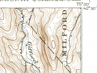 Reduced fragment of topographic map en--usgs--063k--060535--(1918)--N042-30_W075-15--N042-15_W075-00; towns and cities Oneonta, Franklin, Otego, West End