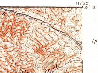 Reduced fragment of topographic map en--usgs--063k--060537--(1897)--N034-15_W117-45--N034-00_W117-30; towns and cities Ontario, Rancho Cucamonga, Upland, Chino, Montclair