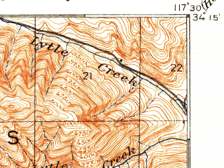 Reduced fragment of topographic map en--usgs--063k--060537--(1903)--N034-15_W117-45--N034-00_W117-30; towns and cities Rancho Cucamonga, Ontario, Upland, Chino, Claremont