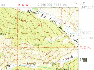 Reduced fragment of topographic map en--usgs--063k--060537--(1954)--N034-15_W117-45--N034-00_W117-30; towns and cities Ontario, Rancho Cucamonga, Upland, Chino, Claremont