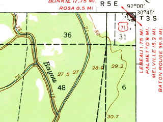 Reduced fragment of topographic map en--usgs--063k--060545--(1939)--N030-45_W092-15--N030-30_W092-00; towns and cities Opelousas, Washington