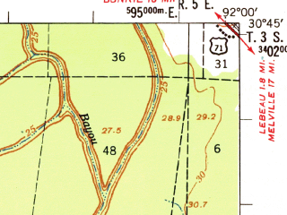 Reduced fragment of topographic map en--usgs--063k--060545--(1956)--N030-45_W092-15--N030-30_W092-00; towns and cities Opelousas, Washington