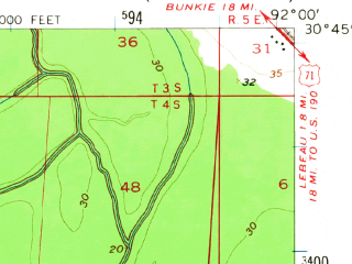 Reduced fragment of topographic map en--usgs--063k--060545--(1957)--N030-45_W092-15--N030-30_W092-00; towns and cities Opelousas, Washington