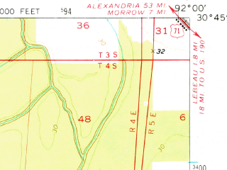 Reduced fragment of topographic map en--usgs--063k--060545--(1970)--N030-45_W092-15--N030-30_W092-00; towns and cities Opelousas, Washington