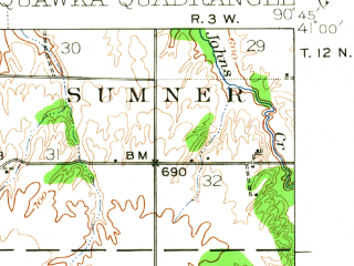 Reduced fragment of topographic map en--usgs--063k--060567--(1934)--N041-00_W091-00--N040-45_W090-45; towns and cities Biggsville, Gladstone, Media