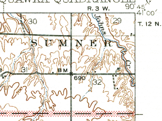 Reduced fragment of topographic map en--usgs--063k--060567--(1940)--N041-00_W091-00--N040-45_W090-45; towns and cities Biggsville, Gladstone, Media