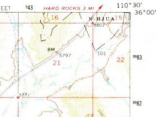 Reduced fragment of topographic map en--usgs--063k--060571--(1966)--N036-00_W110-45--N035-45_W110-30; towns and cities Kykotsmovi Village, Second Mesa, Shongopovi