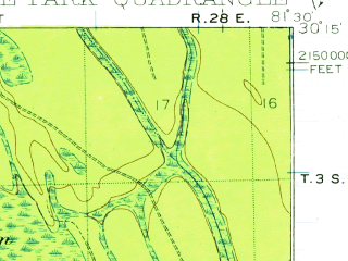 Reduced fragment of topographic map en--usgs--063k--060575--(1917)--N030-15_W081-45--N030-00_W081-30; towns and cities Bellair-meadowbrook Terrace, Fruit Cove, Orange Park